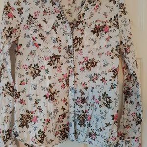 L.E.I. Juniors Cottage Core long sleeve blouse